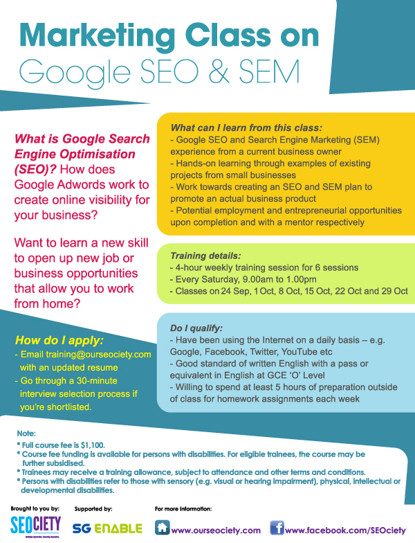 Upcoming SEO and SEM Training Course in September 2016
